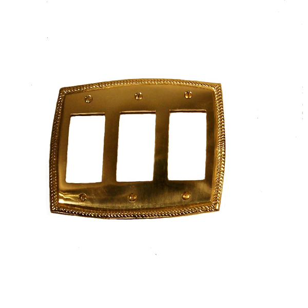Brass Accents Rope Triple GFCI Switch Plate