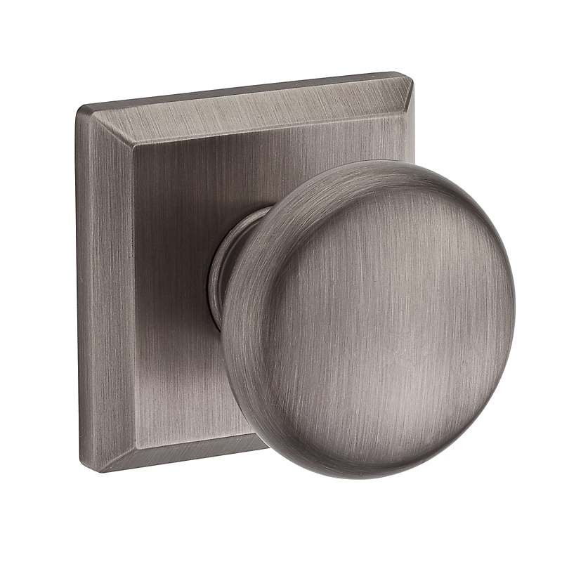 Baldwin Reserve Round Knob shown with Square Rose (TSR) in Matte Antique Nickel