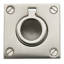Baldwin 0393 Flush Ring Pull in Satin Nickel (150)