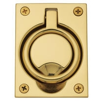 Baldwin 0395 Flush Ring Pull in Polished Brass (030)