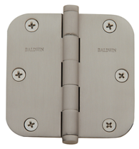 "Baldwin Brass 1135 3 1/2"" x 3 1/2"" Radius Corner Hinge Satin Nickel (150)"