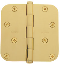 "Baldwin Brass 1140 4"" x 4"" Radius Corner Hinge Polished Brass (030)"