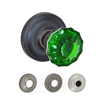 Fusion Elite Scalloped Green Door Knob with Ketme Rose Oil Rubbed Bronze