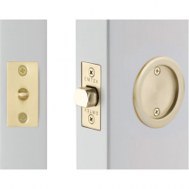 Emtek 2144 Round Passage Pocket Door Tubular Lock Satin Brass