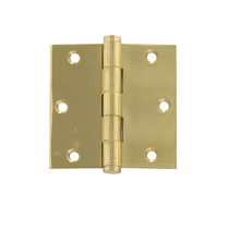 "Brass Accents 3 1/2"" x 3 1/2"" Square Corner Button Tip Brass Hinge"