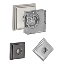 Fusion Contemporary Square Glass Door Knob with Square Stepped Rose BRN
