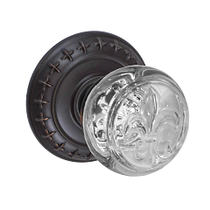 Fusion Decorative Fleur Glass Door Knob with St. Charles Rose Oil Rubbed Bronze