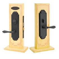 Emtek Octagon Mortise Entrance Lockset with Octagon Lever Flat Black 3533, 3133