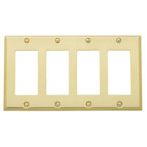 Baldwin Beveled Edge Quad GFCI Switch Plate