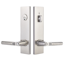 Emtek Modern Rectangular Two Point Keyed Entry shown with Hanover Lever