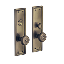 Baldwin Estate 6547 Nashville Mortise Entrance Set in Satin Brass & Black