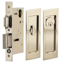 Omnia 7035/A.14 Modern Rectangular Keyed Entry Pocket Door Lock