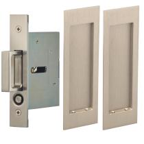 Omnia 7035/N.15 Modern Rectangular Passage Pocket Door Lock Satin nickel