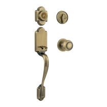 Kwikset Arlington Handleset shown with the Copa knob in Antique Brass (5)