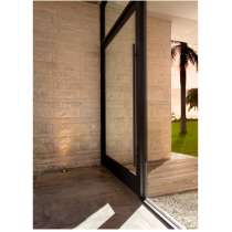 """Emtek 86187 48"""" Long Door Pull shown in Flat Black Stainless Steel"""