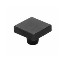 Emtek Sandcast Bronze Rustic Modern Square Knob - 86662, 86663 Flat Black
