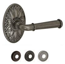 Fusion St. Charles Lever Set AN with Oval Floral Rose in Antique Pewter