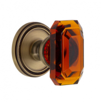 Grandeur Baguette Amber Crystal Door Knob Set with Soleil Rose vintage Brass
