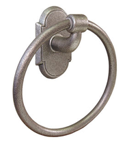 Emtek 2501 Wrought Steel Towel Ring with #1 Rose Satin Steel