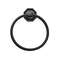 Emtek 2701 Tuscany Bronze Towel Ring with #15 Rose Flat Black Patina (FB)