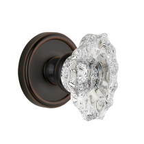 Grandeur Biarritz Crystal Door Knob Set with Georgetown Rose Timeless Bronze