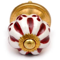 PotteryVille White and Maroon Ceramic Cabinet Knob