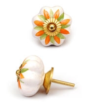 PotteryVille White Ceramic Knob with an Orange and Green Flower