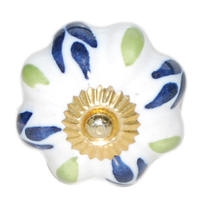 PotteryVille Blue and Lime Green Floral Design on a White Cabinet Knob