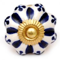 PotteryVille Blue Floral Design on a White Cabinet Knob