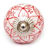 PotteryVille White Ceramic Knob with Red Floral Design