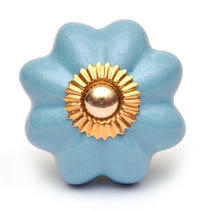 PotteryVille Turquoise Flower Cabinet Knob