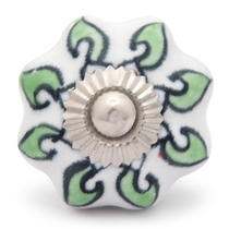 Potteryville Green leaf with white base ceramic knob