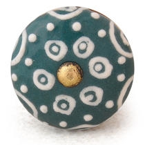 PotteryVille White design with Dark Cyan base ceramic knob