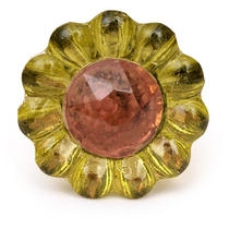 PotteryVille Green Glass Knob with Brown Diamond-Cut Center