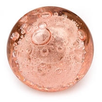PotteryVille Pink Glass Round Knob with Air Bubbles