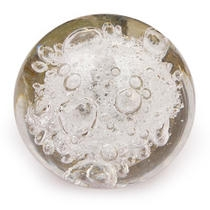 PotteryVille Clear Glass Round Knob with Air Bubbles
