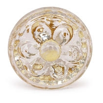 PotteryVille Clear Glass Flower Embossed Knob (Medium)