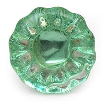 Green Glass Flower Cabinet Knob with Diamond-Cut Center