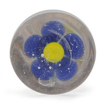 PotteryVille Blue Flower with Yellow Center Glass Knob