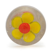 PotteryVille Yellow Flower with a Red Center Glass Knob