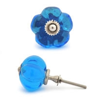 PotteryVille Blue Glass Melon-Shaped Knob