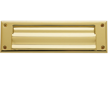 Baldwin 0015 Magazine Size Single Flap Letter Box Plate Lifetime Polished Brass