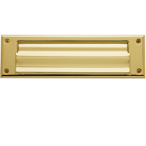 Baldwin 0017 Magazine Size Double Flap Letter Box Plate Lifetime Polished Brass