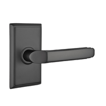 Emtek Milano Door Lever with Rectangular Rose Flat Black (US19)