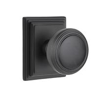 Emtek Norwich Door Knob Set with Wilshire Rose Flat Black (US19)