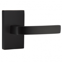 Emtek Modern Breslin Lever Set with Modern Rectangular Rose Flat Black