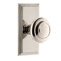 Grandeur Circulaire Door Knob Set with Carre Short Plate Polished Nickel