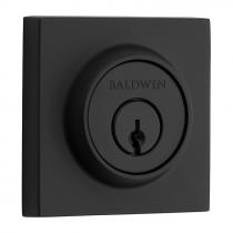 Baldwin Reserve Contemporary Square Deadbolt shown in Satin Black (190)