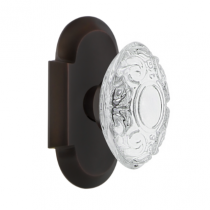 Nostalgic Warehouse Studio Plate with Crystal Victorian Knob Timeless Bronze