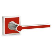 Emtek Cayman Lever with Trinidad Rose and Hibiscus Red Insert L5110,L5210,L5050
